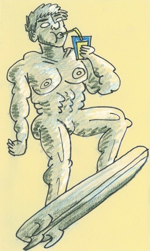 "Today Jojo draws Silver Surfer. Me: ""Jojo, do you know what Silver Surfer Looks like?"" Jojo: ""He looks like a Capri Sun commercial from the 90s, right?"" Me: ""I can't argue with that."" I don't have much to add, except that by giving him hair, ears and (very noticeable) nipples, it draws a lot more attention to the fact that he's got nothing between his legs. Actually, that's not true. I don't think anyone will notice anything but the nipples."