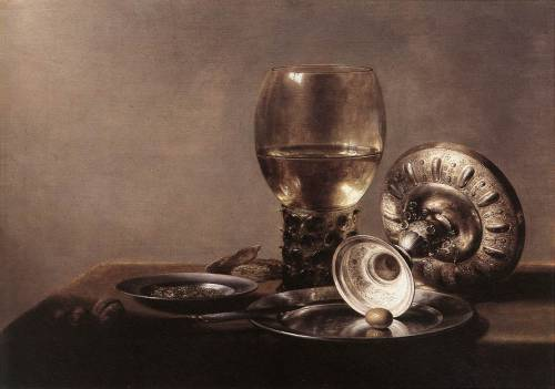 cavetocanvas:  Still Life with Wine Glass and Silver Bowl - Pieter Claesz, date unknown