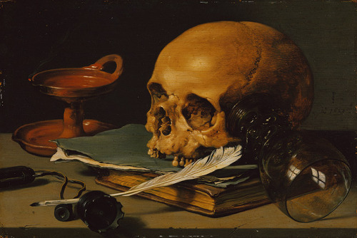 cavetocanvas:  Still Life with a Skull and Writing Quill - Pieter Claesz, 1628