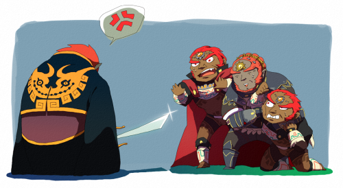 OOT Ganondorf with cape: I swear WW Ganondorf, he didn't mean to call you fat and weak. OOT Ganondorf: But he is! And he's the lamest one out of all of us because he also uses 2 swords, even TP Ganondorf and his curls are cooler than you! Pig Ganondorf: I wasn't even in the pic…..