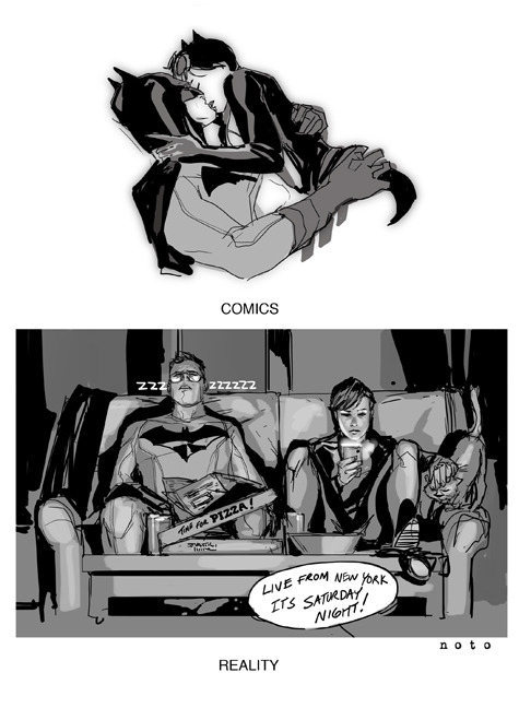 Phil Noto depicts the Catwoman/Batman scene, comics vs. reality. Love it. philnoto:  The true end of Catwoman #1