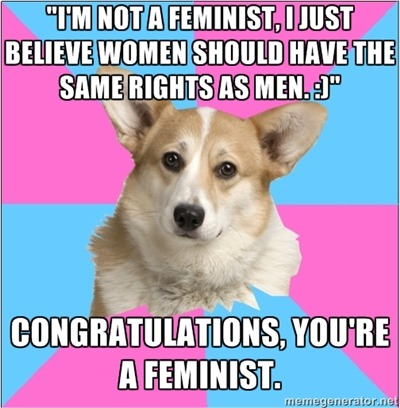 "criticalfeministcorgi:  submitted by neuroticdragon [head of a corgi on alternating pink and blue background, text above reads ""im not a feminist, i just believe women should have the same rights as men"", bottom text reads ""congratulations, you're a feminist.""]"
