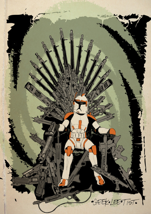justinrampage:  Game of Thrones gets a bad ass Star Wars remix in Tumblr artist Dave Styer's new mash up art. Prints and clothing now on sale at his Society6 store. Related Rampages: Scout Squirt | Walker Texas Ranger (More) Game of Clones by Dave Styer (Tumblr) (Store) (Twitter) Via: geekleetist