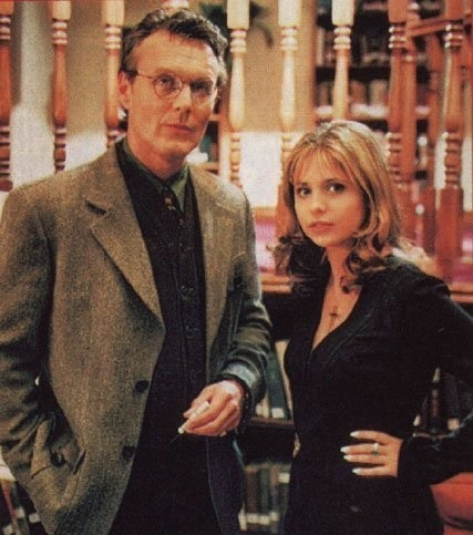 missanthropicprinciple:   Giles and Buffy. And that's my final word this evening.   My first word this morning! Yup.