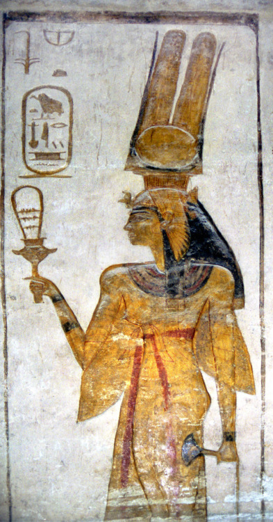 dwellerinthelibrary:  Nefertari again, looking rather fierce as she brandishes her sistrum.