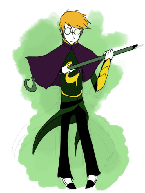 Magical Soldier Edward Nigma~*~*~ or something :T Flat colours because I'm feeling pretty lazy.Gold and green colourscheme because his outfit as a ~*~puella magi~*~ is heavily based on Loki. /fun fact