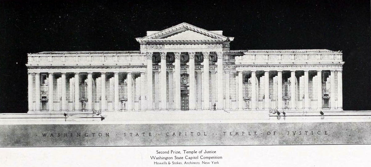 Howells & Stoke's projected Temple of Justice for the Washington State Capitol Competition