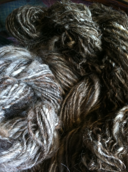 Handspun local fibers blended then spun- all natural color, no dye.
