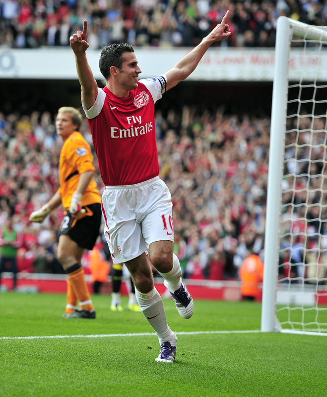 "Arsenal striker and captain Robin van Persie put in his 99th and 100th goals in a Gunner kit today against a Bolton team with few attacking options and defending shambolic enough it resulted in a red card for Bolton's David Wheater, who was subbing for Gary Cahill. It was 3-nil to the Arse at home, and might actually quiet down the ""woe are the Gunners' talk for at least a week. Of course, we also have another one of van Persie's memorable moments in an Arsenal kit below:"