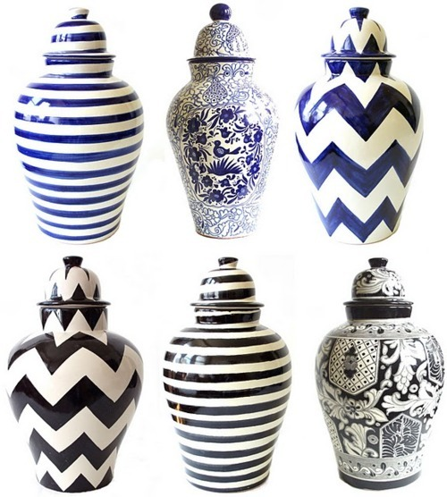 emilia ceramic pattern ginger jars chevron stripes black blue