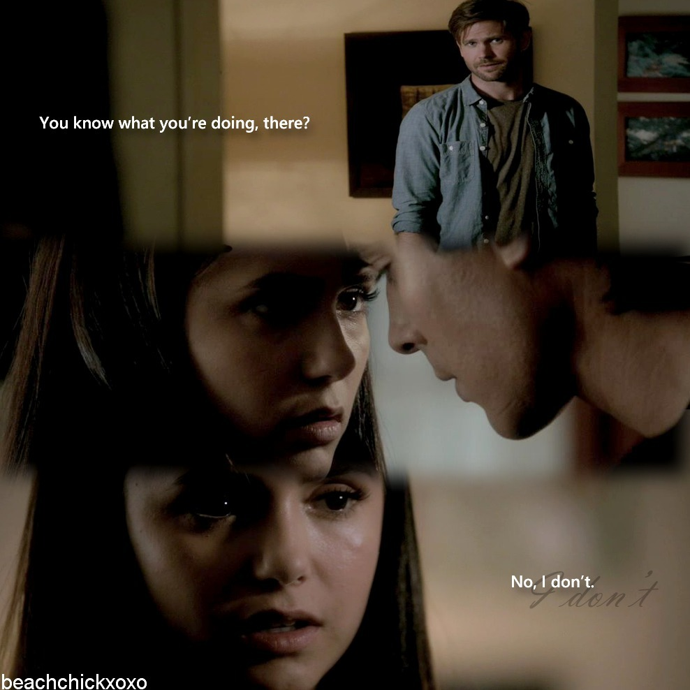 "beachchickxoxo:  Alaric: ""You know what you're doing there?"" Elena: ""No, I don't."" -Alaric&Elena, The Hybrid Episode"