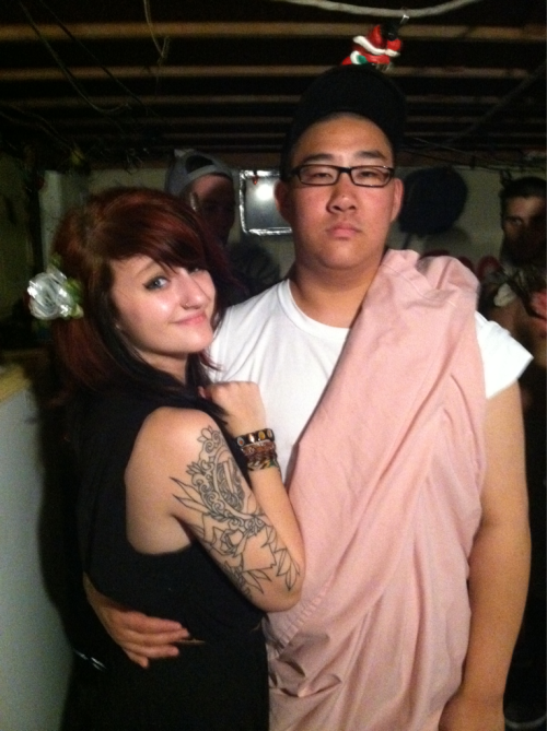chelseamorrill:  Togas, Panda(with the azn stare) and vodka<3 Three of the best things.