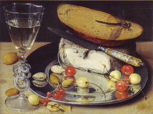 georg flegel (1566-1638) still life with cheese and cherries oil on canvas stuttgart - staatsgalerie source