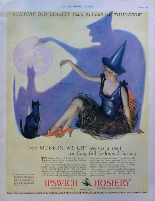 mothgirlwings:  Halloween Ipswich hosiery advert - 1927
