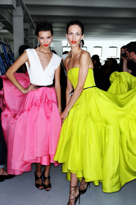 The orange lip and brights colors were on runways worldwide for Spring 2012