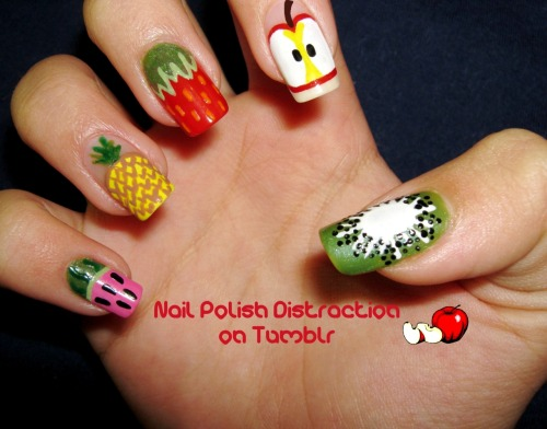 nailpolishdistraction:  Fruit Salad =) I looove mixed manicures.