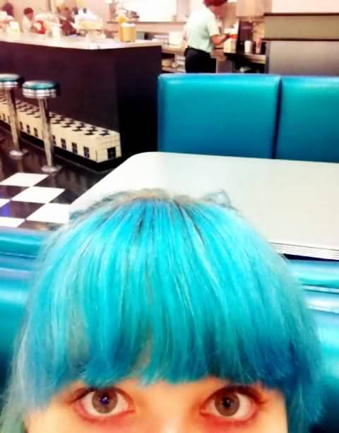 My old turquoise hair used to match the Zellers diner seats perfectly.