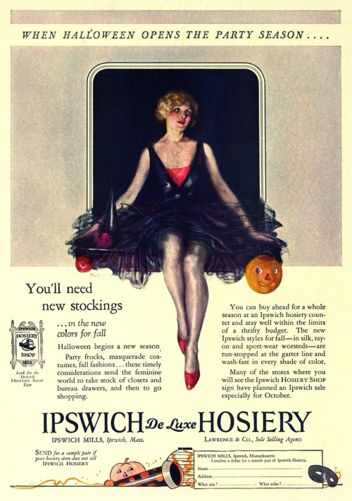 "mothgirlwings:  Halloween Ipswich hosiery advert - 1927 ""When Halloween opens the party season"""