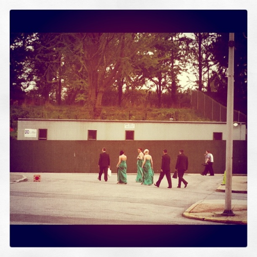 I spy bridesmaids walking the Brooklyn Museum parking lot.