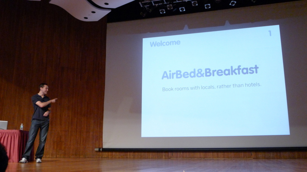 "tiffanyk:  The original Airbnb Pitch Deck Honored @nathanblec shared original @airbnb #pitchdeck ""AirBed&Breakfast"" at #MIT #StartupBootcamp #sb2011."