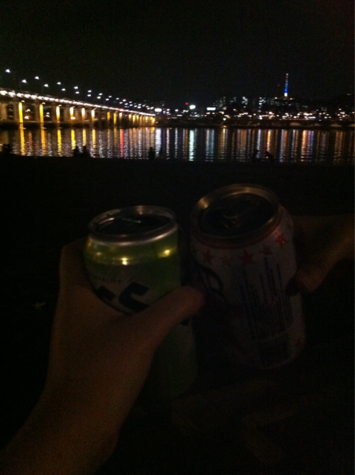 Having a drink at Banpo Han River Park - people often have pizza or chicken delivered to the park.  More interesting story in ebook - for free in ibooks.  http://itunes.apple.com/us/book/korea-holic/id458998532?mt=11
