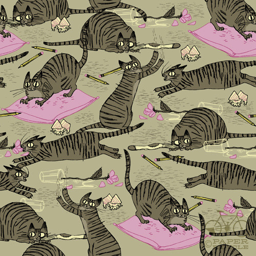 paperbicyclecreative:  Daily Pattern: Cat Habits Francesca Buchko