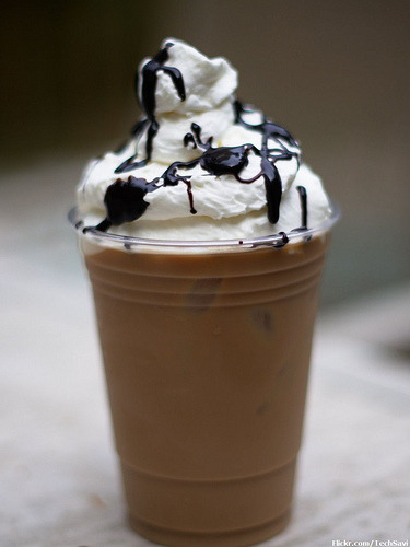 thecakebar:  Homemade Iced Mocha Latte's! Sometimes it's fun to go out with friends to your favorite cafe and have your favorite drink, but sometimes that's not possible due to the economy etc… But we still have to enjoy the little things in life like a good cup of coffee. What to do… What to do… Problem solved: DIY@home! Recipe/Directions: Ice cubes, but on this occasion we add that in the end. Next you need will be to brew 4 double espresso and blend this with brown sugar till the sugar melts.  Take the espresso and add 3 tablespoons of chocolate sauce and stir it appropriately.  Place it away for a time and let it cool down, then put it in the refrigerator making it cold. After it's chilled down, add half teaspoon of vanilla flavor and 2 cups of cold milk in the coffee.   Add everything in a big pitcher and blend it till it is mixed correctly.  Pour the coffee into 4 large glasses then add ½ cup of crushed ice to every glass.  Add whipped cream and sprinkle some chocolate garnish.  Add a straw and you will be ready to enjoy! Recipe continues here ~~~~~~~~~~~~~~~~~~~~~~~~~~~ Help Section: **my tips: Always use brown sugar to sweeten, that's the secret weapon of YOUR favorite cafe's. Also If you want to blend it like a Starbucks Frapp add all ingredients to the blender WITH some extra whip cream. (then use more whip cream to garnish later) Adding whip cream to the blender will make it creamy and more like the Starbucks brand.  Also, I would add a TBSP of Vanilla, specially if you have a really good brand. Need more help? contact me @thecakebar I love to help!