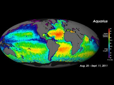 first global ocean salinity map from the Aquarius satellite  via NASA