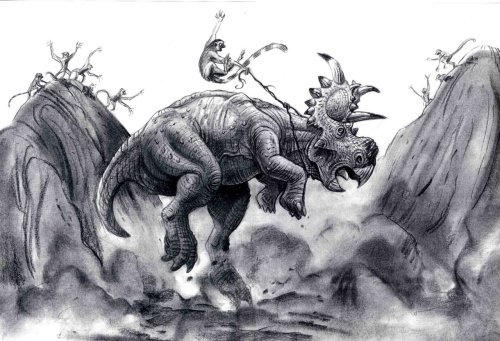 Preproduction artwork of Disney's Dinosaur by Pete Von Sholly