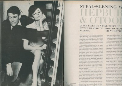 Audrey Hepburn and Peter O'Toole in a promo article for the fabulous 'How to Steal a Million'.