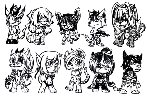 started out a chibi batch in commisions and.. it doesn't seem like it's off to a good start.  Or any of my commission lines.  If you are interested, pass me a message.  Chibis are $3 USD each.