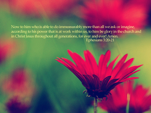 """Now to him who is able to do immeasurably more than all we ask or imagine, according to his power that is at work within us, to him be glory in the church and in Christ Jesus throughout all generations, for ever and ever! Amen."""