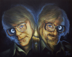 "Stephen King & George Romero - My piece for the upcoming ""Iconoclastic Dead"" show in Mexico City.  I was invited to submit last Monday and the show is October 1st so I had to hustle to think of something and get it finished with enough time to mail it. Every piece is honoring people whom are icons in the style and mention of the Día de los Muertos festival in Mexico. Super pumped to have this piece showing there from Oct. 1st - Oct. 31st.  Prints will also be sold at the gallery. http://www.theautumnsociety.com/"