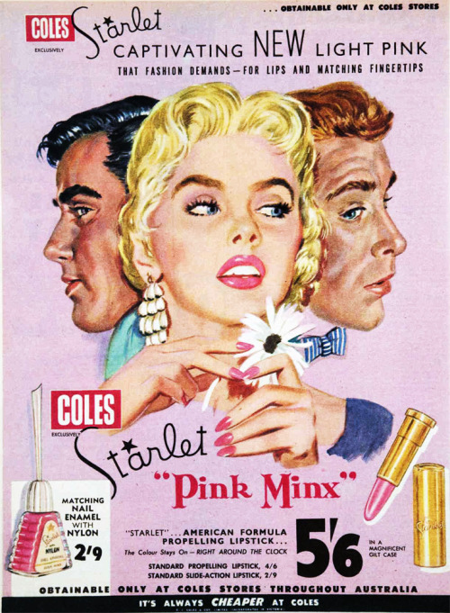 vivatvintage:  New Starlet 'Pink Minx' lipstick and nail polish, 1957