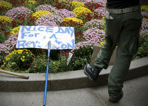 "pantslessprogressive:  Occupy Wall Street News Roundup, Sept. 24-25 Police Brutality: Police pen up and mace female protesters [Raw Story] Young man arrested simply for walking down the street [laurasthinkingwithportals] Protester thrown over barricade by police [evanfleischer] Protester shouts, ""Is this what you're about?"", gets cuffed [@LibertyPlazaRev] Officer pushes sitting protester, man stands up, cops arrest him [@LilKing420s] Cops Tackle, Mace Wall St. Protesters for No Obvious Reason [Gawker] In the News:  Occupy Wall Street makes the Sunday cover of NY Daily News [@DhaniBagels] NYPD Silent On Pepper Spraying Of Downtown Protesters [NY1] Wall Street protesters cuffed, pepper-sprayed during 'inequality' march [NY Daily News] 80 Arrested as Financial District Protest Moves North [NY Times] Gunning for Wall Street, With Faulty Aim [NY Times] Arrests at New York anti-Wall Street protest [Al Jazeera] Protesters march in Manhattan, criticizing Wall Street [Reuters] Police crack down on 'Occupy Wall Street' protests [Guardian] 80 arrested as 'Occupy Wall Street' protest of bank bailouts, mortgage crisis marches in NYC [Washington Post/AP] Protesters march in Manhattan, criticizing Wall Street, getting arrested [MSNBC] Dozens arrested in 8th day of 'Occupy Wall Street' protests [CNN] Police Arrest 80 During 'Occupy Wall Street' Protest [Fox News] 80 'Occupy Wall Street' Protesters Arrested [WSJ] 'Occupy Wall Street' Protests Turn Violent; Video Shows Police Macing Women [ABC] Wall St protests: Police harsh, media silent? [RT] Occupy Wall Street Calm So Far in Ninth Day [Village Voice] Why 'Occupy Wall Street' makes sense [Amy Goodman] Occupy Wall Street rediscovers the radical imagination [David Graeber] Occupy Wall Street's Leaderless Democracy [The Indypendent] 11 Things You Can Do to Help the 'Occupy Wall Street' Movement [Alternet] Must Watch: 9/11 first responder occupies Wall Street [evanfleischer] Check out Occupy Together, a new site listing occupation movements across the country. Email NY-based journalists and urge them to cover the protest [inothernews] Watch the Global Revolution livestream. Follow Evan Fleischer for a steady stream of news from the Occupy Wall Street movement. [Photo: Alex Fradkin]"