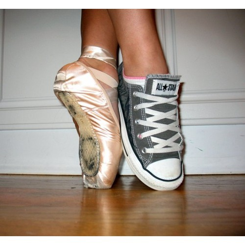 ifpenguinscouldfly:  converse and pointe shoe (clipped to polyvore.com)