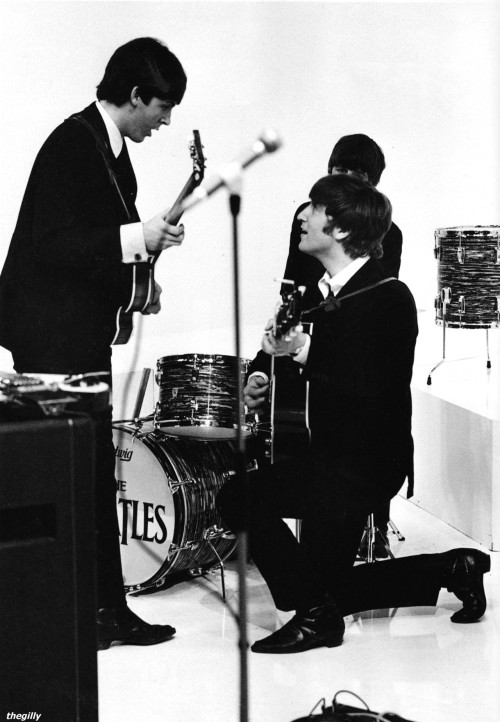 "thegilly:  The Beatles rehearsing, Scala Theatre, April 1964 David Hurn: ""They were more at home playing their instruments than acting. They didn't like miming so actually played live for the film. Paul and John seemed to understand one another totally. There was no rivalry, just a genuine love and respect. It was great fun to watch them onstage playing. Yet despite their obvious talents they were very humble. They'd point to other musicians saying how much more able they were. Their musical limitations spurred them on."""