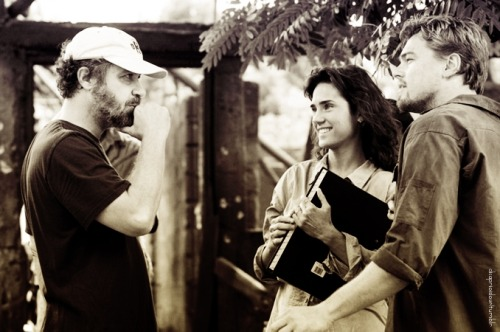 Jennifer Connelly and Leonardo DiCaprio behind the scenes in the film Blood ...