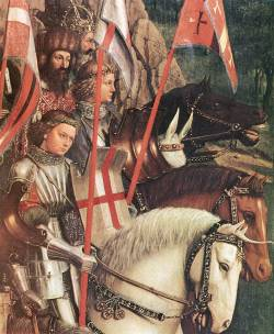 rhaegartargaryen:  Jan van Eyck | The Ghent Altarpiece: Soldiers of Christ (detail) | 1427-1430