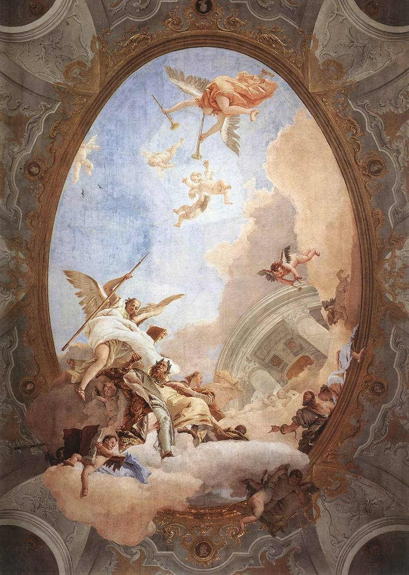 deadsunflower:  TIEPOLO, Giovanni Battista. Allegory of Merit Accompanied by Nobility and Virtue (1757-58). Fresco, 1000 x 600 cm. Museo del Settecento Veneziano, Ca' Rezzonico, Venice.