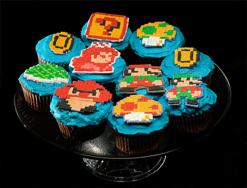 assorted-goodness:  8 bit Mario Bros cupcakes by Meghan. Flickr // Blog // Website