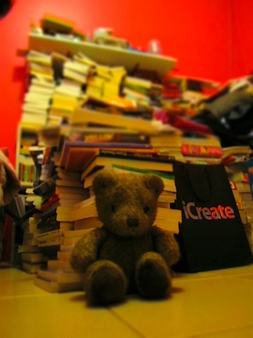 mavieenlair:  Brownie guards my books.