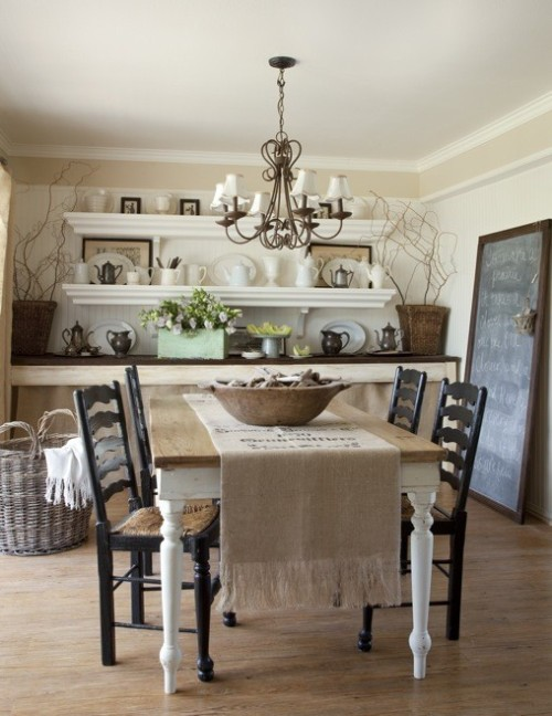 Great Shabby Chic cottage style dining room (via 19th century table runner by lblaswich on Etsy)