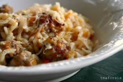 gastrogirl:  pumpkin and meatball risotto.  What the what?