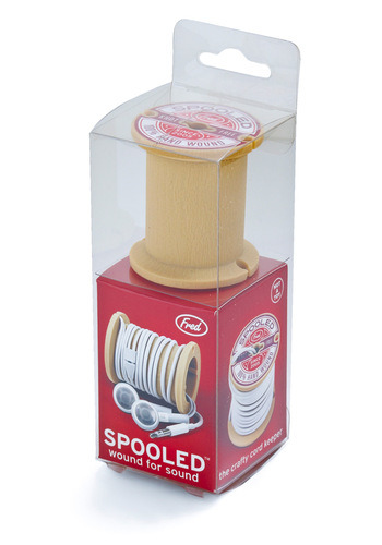 icouldmakethat:  Holiday Sneak Peek Rocking Bobbin Cord Caddy | Mod Retro Vintage Electronics | ModCloth.com Got an old wooden bobbin and a drill? You can make this yourself.  Cute idea. Great stocking stuffer. Great DIY project for a sewer who happens to have 1475 spools laying around.
