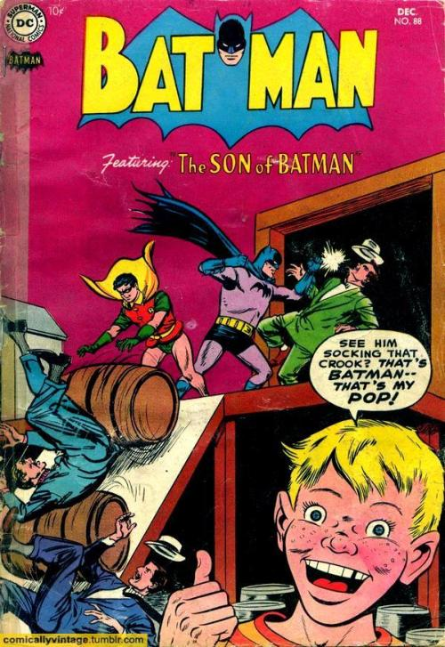 comicallyvintage:  That's BATMAN— That's My POP!  Pre-Crisis Damian Wayne was a lot different.