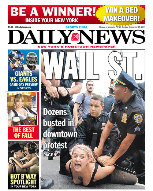 inothernews:  Front page, New York Daily News, Sunday 25 September 2011. (via the Newseum)