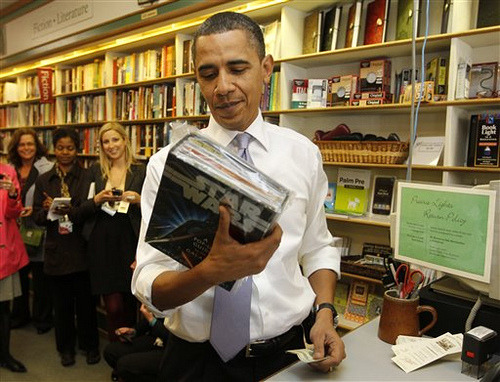 "vintageanchor:  Obama considers buying a ""Star Wars"" pop up book  Do or do not. There is no consider."