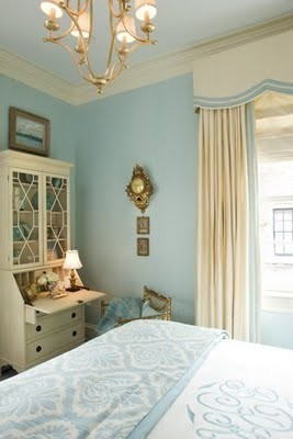 Blue and ivory combine for a soothing, elegant room fit for a princess (via Comfy Cozy Bedrooms / Chichi and Luxe: Beautiful Bedrooms)