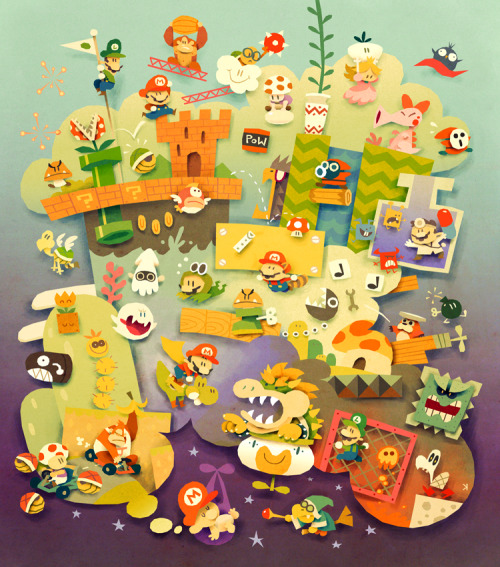 svalts:  It's a lot of Mario packed into one massive piece of fan art by Ken Wong. Various sized gallery-quality giclée prints ($20-$80) are now available at inPRNT. Mario Dreams by Ken Wong deviantART | Facebook | Twitter (Via: justinrampage)
